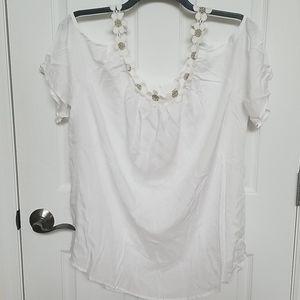 Rosegal cold shoulder daisy neckline top